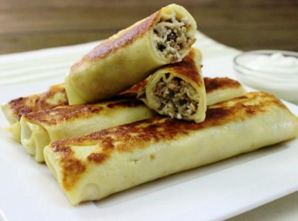 Рецепт вкусных блинчиков с мясом