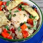 Курица по французски с овощами и базиликом