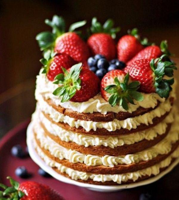 Голый торт с фруктами фото