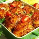 Курица запеченная с овощами в духовке