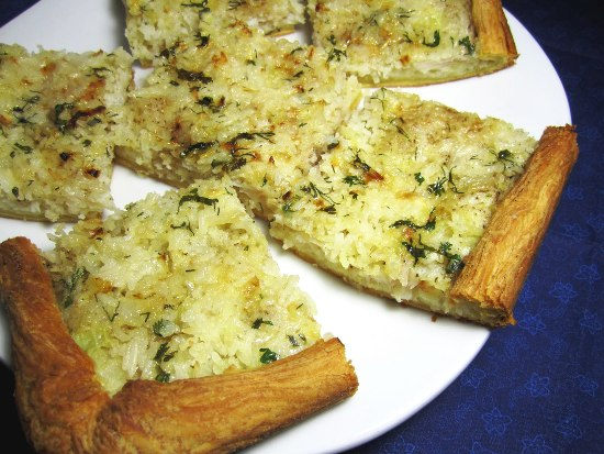 Открытый пирог с рыбой и рисом фото рецепт Коломна